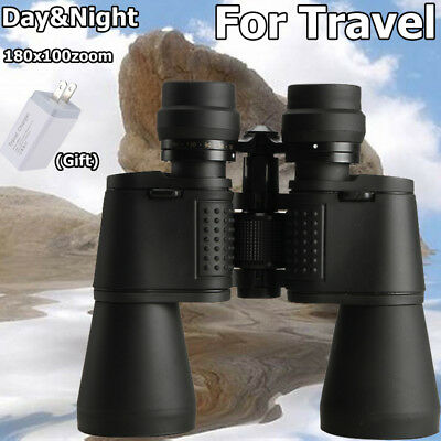Day Night Vision 10-180x100 Zoom Optic Outdoor Travel Binoculars Hunting Camping