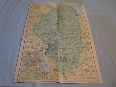 ANTIQUE ILLINOIS MAP National Geographic May 1931