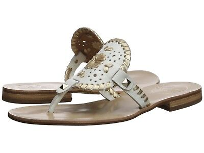 a22a9fe0cf1 Jack Rogers Georgica Sandals Sz 9 White Leather w Gold Whipstitching NEW   128