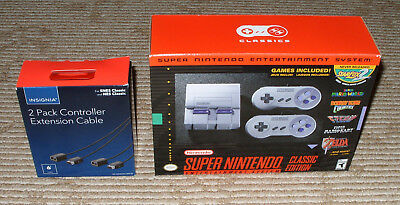Super Nintendo System: SNES Classic Edition + Ex 2 Pack Extension Cables! New!