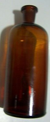 """LRG 7.5"""" Amber Brown Glass Bottle VTG Apothecary Antique Pharmacy, FREE SHIPPING"""