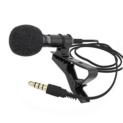 Tie Clip-on Mic Lapel Lavalier Condenser Microphone for iPhone Smartphone Black