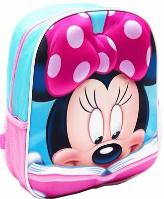 Minnie Mouse Girls kids 3D preschool daycare childcare kindy bag bags backpack