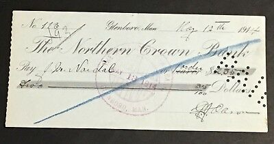 RARE 1914 The NORTHERN CROWN BANK cancelled Check / Cheque Glenboro Man. Canada