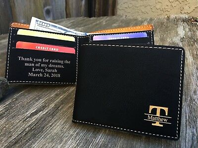 d64eee818fc Father of the Groom Gift Father in Law Personalized Bifold Mens Wallet BLACK