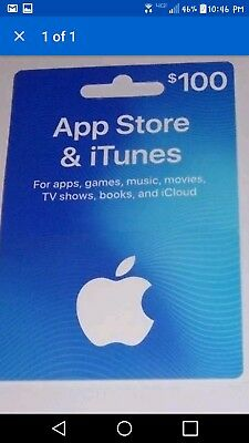 Apple Itunes $100 Card (for Music Downloads/Apple App Store!!!!!!!