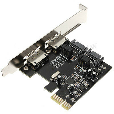 PCI-E PCI Express to SATA 3.0 eSATA 6 Gbps 4 ASM106 Port Adapter Converter Card