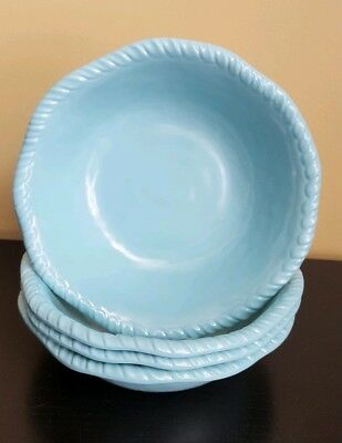 Tommy Bahama Melamine Blue Rope Nautical Salad Cereal Bowls 4pc