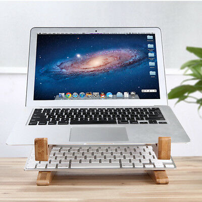 Bamboo Desk Stand Holder Detachable Mount For Macbook Surface Laptop Notebook