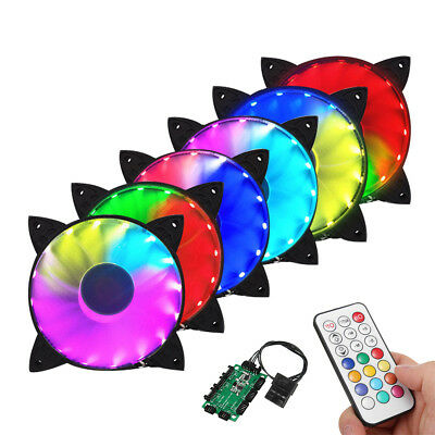 6 Pack RGB LED Computer PC Chassis Cooling Fan Case 120mm + Remote Controller