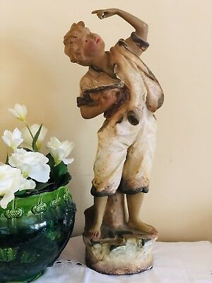 Antique Vintage Victorian Chalk Ware Plaster Figurine Statue Numbered Original