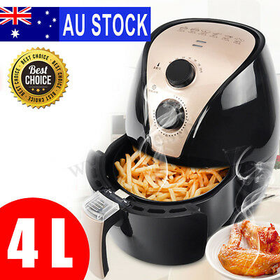 AU 4L Air Fryer Low Fat Oil Free Healthy Deep Chef Cooker Kitchen Kids Chips