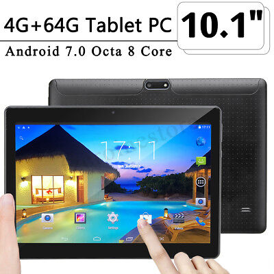 "10.1"" 4GB + 64GB Tablet PC HD Octa Core WIFI bluetooth Android 2 SIM Tablette"