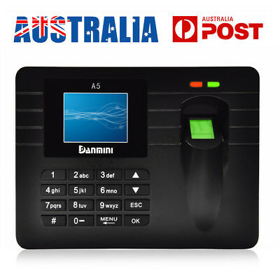 Danmini Fingerprint Attendance Machine Time Clock Employee Recorder Password