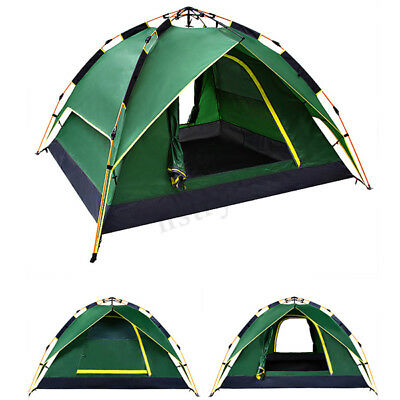 XL 4 Person Double Layer Instant Pop Up Large Camping Tent Outdoor Shelter + Bag