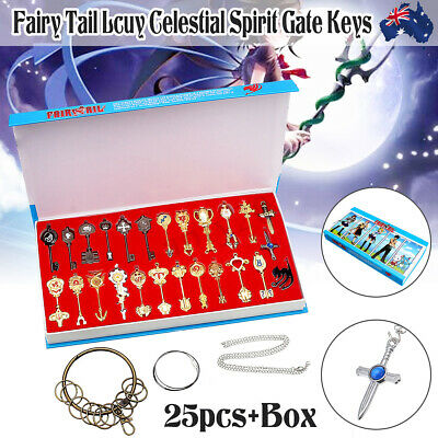 AU 25pcs Fairy Tail Keys Collection Necklace Cosplay set for Lucy heart keychain