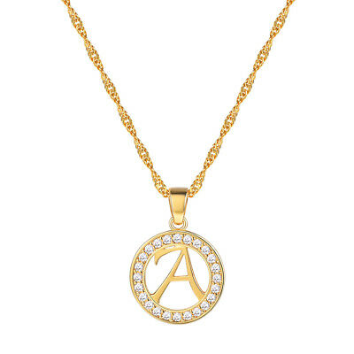 Dainty Initial Alphabet Letter A-Z Necklace Gold Plated Cubic Zirconia Jewelry