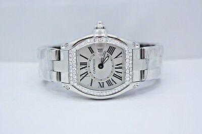New Ladies Cartier Roadster Stainless Steel Diamond Encrusted Watch Ref W62016V3