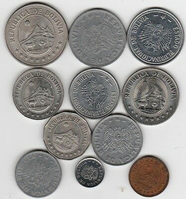 11 different world coins from Bolivia