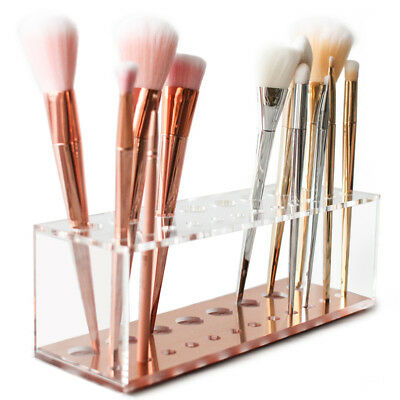 Acrylic Cosmetic Makeup Brush Holder Rack Stand Organizer Case With 12-20 Holes