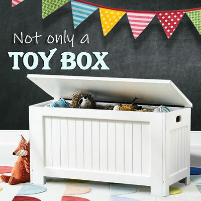 Wooden Storage Box Kids Toy Chest White Clothes Blanket Trunk Linen Cabinet NEW