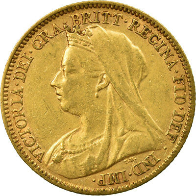 [#513082] Coin, Great Britain, Victoria, 1/2 Sovereign, 1901, EF(40-45), Gold