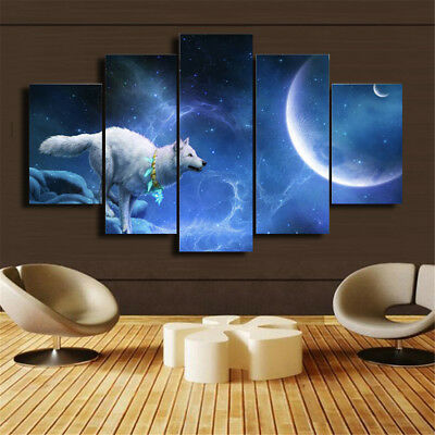 Home Decor Canvas Print Painting Wall Art abstract Poster 5Pcs Ice Wolf