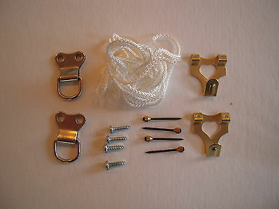 LARGE PICTURE HANGING KIT Cord Double D-Rings Hooks & Fixings