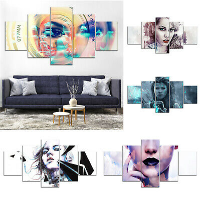 Woman Portrait Modern Abstract Canvas Print Painting Framed Home Decor Wall Art