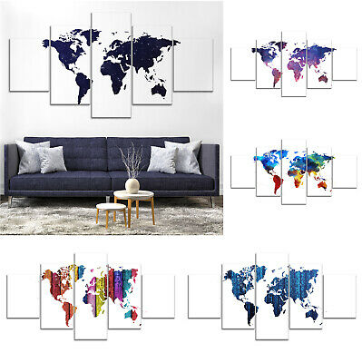 Colorful World Map Canvas Print Painting Framed Home Decor Wall Art Poster 5Pcs