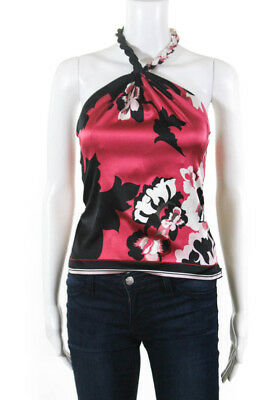 a18248fa24f799 Elie Tahari Womens Twisted Halter Neck Floral Blouse Top Pink Black Size XS
