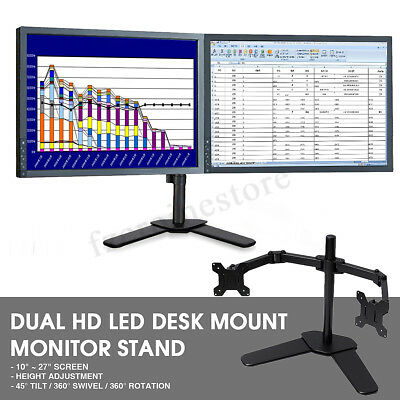 UK Twin Arm Desk Mount Bracket LCD Computer Monitor Stand 10''-27'' Screen TV