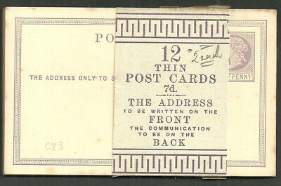 1870 1/2D Lilac Thin Post Cards Cp3 Unused Pack Of 12 With Wrapper Band