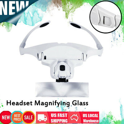 5 Lens Headset Magnifier Hand Free Magnifying Glass Eyelash Extension with LED