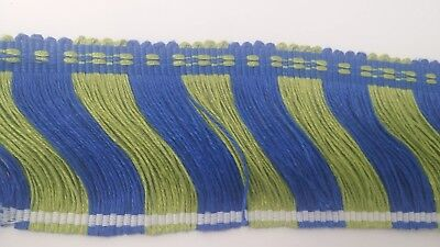 "10+ Yd Conso Trim 3"" Cut Fringe In Bright Blue And Green Drapery Upholstery Trim"