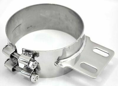 "exhaust 6"" butt joint clamp with straight bracket stainless for Peterbilt stacks"