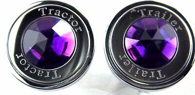 knob set air brake tractor trailer purple jewel pin mount for Peterbilt Kenworth