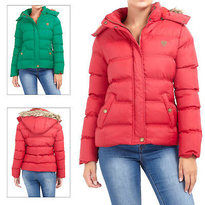 5e7f5f42f BRAVE SOUL WOMENS Hopp Padded Jacket Ladies Removable Hooded Quilted Puffer  Coat