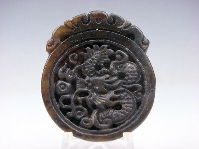 Old Nephrite Jade Hand Carved *Furious Curly Dragon* Pendant #01301925