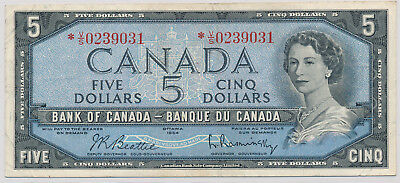 Bank Of Canada Replacement 5 Dollars 1954 *vs0239031 - Vf+