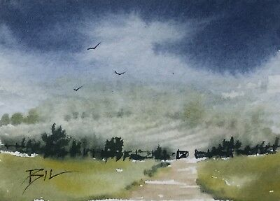 ACEO ATC original art painting by Bill Lupton - Country Mist