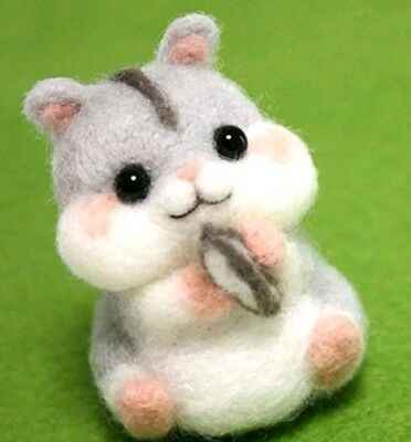 Kawaii hamster needle felting kit DIY gift UK seller