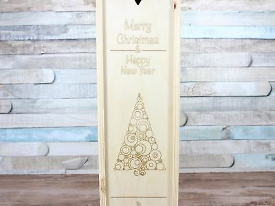 Personalised Wooden Christmas Wine Gift Box Any Message Double 2 Bottles