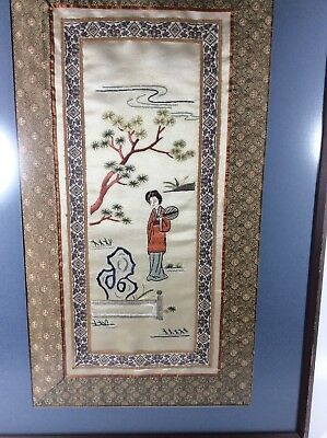 Antique 19th Century Chinese Silk Embroidery Woman With Fan In Garden