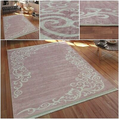 Durable Modern Home Rug in Pink White Special Tendril Pattern Design Area Carpet