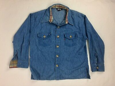 Levi's for Men Vintage Chambray Jean shirt Blue L/S Button Orange tag Vv1