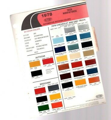 1978 CHEVY / GMC / BROCKWAY TRUCK Color Chip Chart Paint Sample Brochure: DuPont