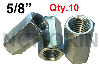 Qty 10 Hex Rod Coupling Nuts 5/8-11 x 2-1/8 Threaded Rod Connectors Zinc Coupler