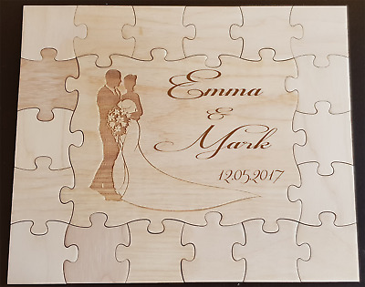 Wedding Guest Books Puzzle Jigsaw Personalized - Wooden 18 to 78 pieces + box