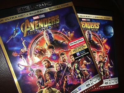 Avengers Infinity War 4k UHD Disc with case and slip cover